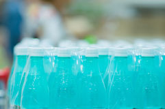 Bottles with fresh water in supermarket Royalty Free Stock Image