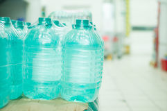 Bottles with fresh water in supermarket Royalty Free Stock Photography