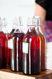 Bottles of fruity apertifs Stock Images