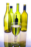 Bottles and glass. Collection of bottles and a glass on reflected surface Royalty Free Stock Photography