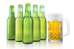 Bottles and glass of beer Stock Image