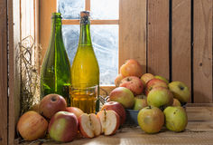 Bottles and glass of cider with apples Royalty Free Stock Images