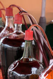 Bottles of glass with red wine Stock Images