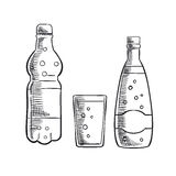 Bottles and glass of sweet soda drink Stock Photo