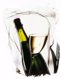 Bottles and glass of white wine Royalty Free Stock Image
