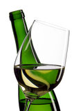 Bottles and glass of white wine royalty free stock photography