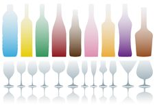 Bottles and glasses,  Royalty Free Stock Photos