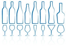 Bottles and glasses Stock Photos
