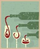 Bottles and glasses. Vintage illustration of bottles and glasses Royalty Free Stock Images