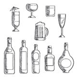 Bottles and glasses of alcohol beverages sketch Royalty Free Stock Photo