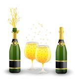 Bottles and glasses with champagne on a white background Royalty Free Stock Photo