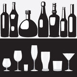 Bottles and glasses Royalty Free Stock Images