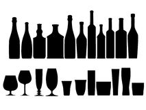 Bottles glasses outline silhouette Royalty Free Stock Photo
