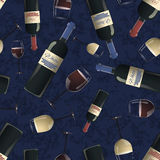 Bottles and glasses of red and white wine on blue background Stock Image