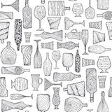 Bottles and glasses seamless Royalty Free Stock Photography