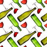 Bottles and glasses seamless pattern Royalty Free Stock Images