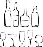 Bottles  and glasses set Royalty Free Stock Photo