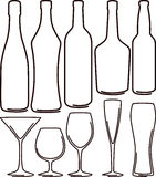 Bottles and glasses set Royalty Free Stock Photography