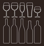 Bottles and glasses set royalty free illustration