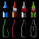 Bottles and glasses- spirits. Logo Royalty Free Stock Photography