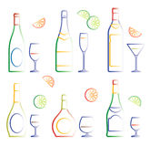 Bottles and glasses (vector) Stock Photo