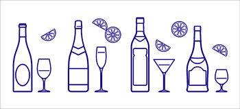 Bottles and glasses (Vector) Stock Images