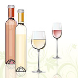 Bottles and glasses with wine Stock Photo