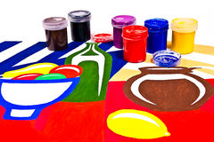Bottles with gouache paints for artistic paintings. Stock Image