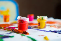 Bottles of gouache paints Royalty Free Stock Image