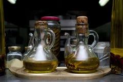 Bottles of grape vinegar. Decorative glass bottles of grape vinegar Stock Photography
