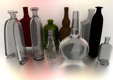 Bottles on gray. Bottles standing in perspective, over a gray background, in diffuse light, all of them empty, 3D illustration, raster illustration Stock Photos