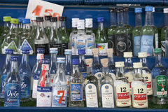 Bottles of greek Ouzo, traditional alcoholic drink Stock Photos