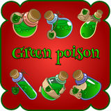 Bottles with green poison on a red background Royalty Free Stock Photography