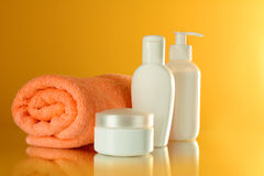 Bottles of health and beauty products Royalty Free Stock Photography