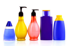 Bottles of health and beauty products Royalty Free Stock Images