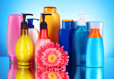 Bottles of health and beauty products Stock Images