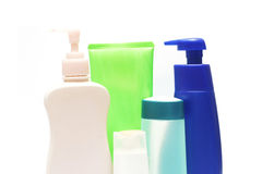 Bottles of health and beauty products Stock Photo