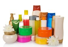 Bottles of health and beauty products care Royalty Free Stock Photo