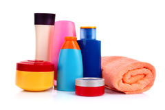 Bottles of health and beauty products isolated Stock Image
