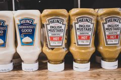 Bottles of Heinz ketchup and condiments. royalty free stock images