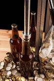 Bottles  of homemade beer  and bottle capping machine Royalty Free Stock Photos