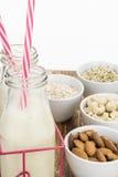 Bottles of homemade plant based milk on table Royalty Free Stock Image