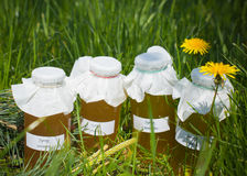 Bottles of homemade syrups Stock Images