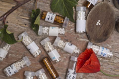 Bottles with homeopathy globules Stock Image