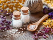 Bottles of homeopathy globules Royalty Free Stock Image