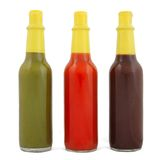 Bottles of hot sauce Stock Photography