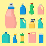 Bottles of household chemicals supplies cleaning housework liquid domestic fluid cleaner pack vector illustration. Royalty Free Stock Photo