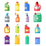 Bottles of household chemicals supplies cleaning housework plastic detergent liquid domestic fluid cleaner pack vector. Group of bottles of household chemicals Stock Image
