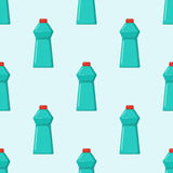 Bottles of household chemicals supplies cleaning housework plastic seamless pattern liquid domestic fluid cleaner pack Stock Photo