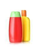 Bottles with hygienic products Royalty Free Stock Images